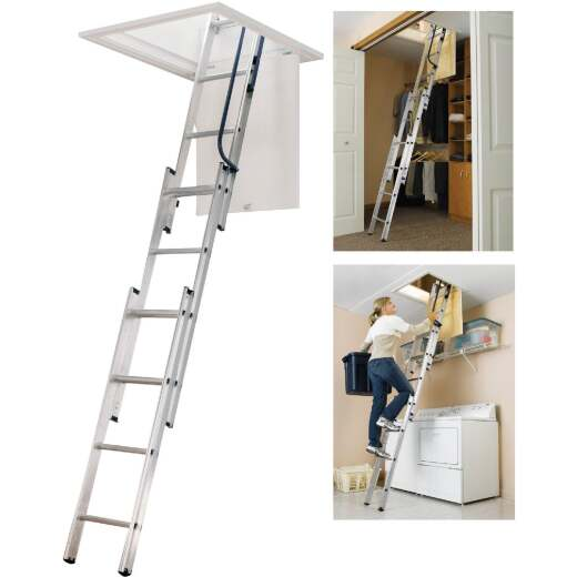 Werner Universal 7 Ft. to 9 Ft.10 In. 18 In. x 24 In. Aluminum Attic Stairs, 250 Lb. Load