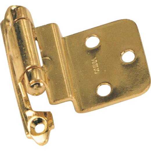 Laurey Polished Brass 3/8 In. Self-Closing Inset Hinge, (2-Pack)