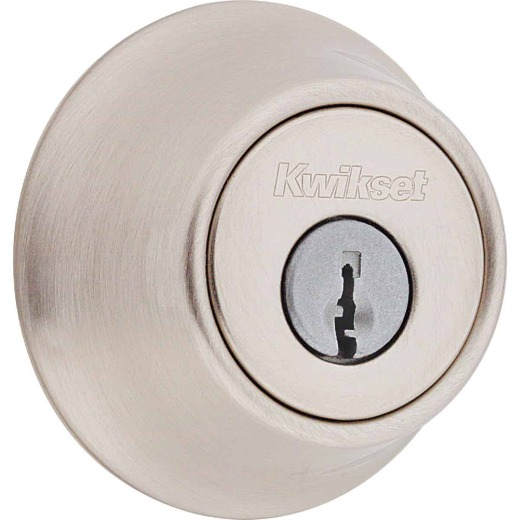 Kwikset Satin Nickel Adjustable Latch Single Cylinder Deadbolt
