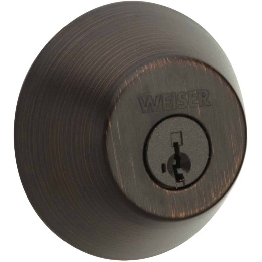 Weiser Venetian Bronze Single Cylinder Deadbolt with SmartKey Security