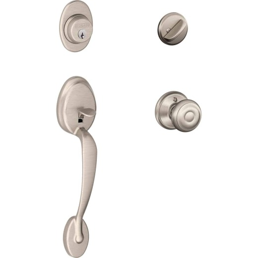 Schlage Satin Nickel Entry Door Handleset with Georgian Knob