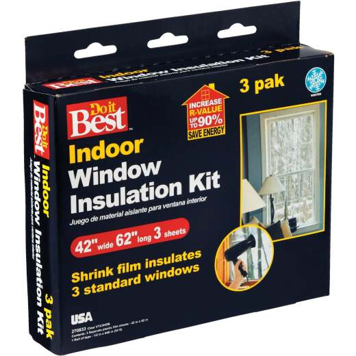 Do it Best 42 In. x 62 In. Indoor Shrink Film Window Kit, (3-Pack)