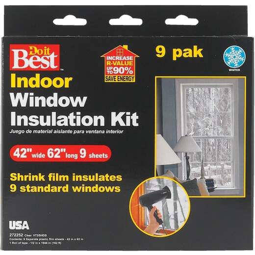 Do it Best 42 In. x 62 In. Indoor Shrink Film Window Kit, (9-Pack)