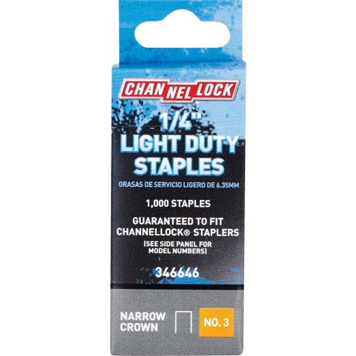 Channellock No. 3 Light Duty Narrow Crown Staple, 1/4 In. (1000-Pack)