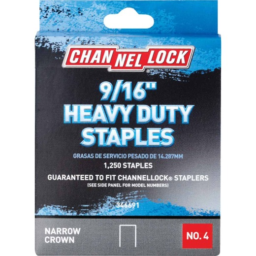 Channellock No. 4 Heavy-Duty Narrow Crown Staple, 9/16 In. (1250-Pack)