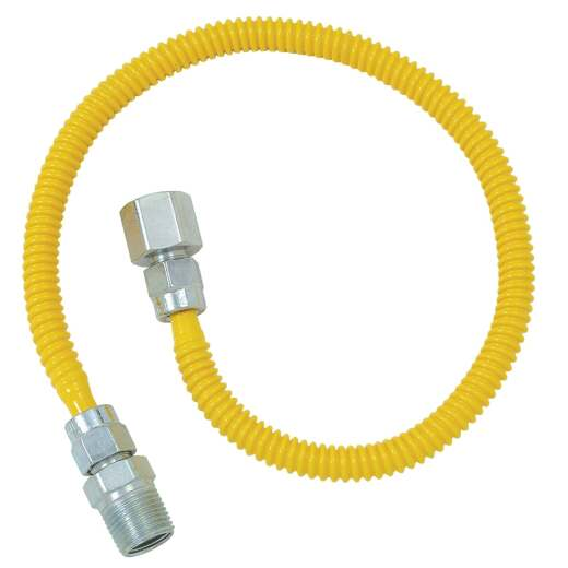 Dormont 3/8 In. OD x 36 In. Coated Stainless Steel Gas Connector, 1/2 In. FIP x 1/2 In. MIP (Tapped 3/8 In. FIP)