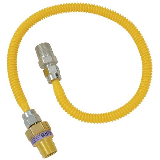 Dormont 3/8 OD x 36 In. Coated Stainless Steel Gas Connector, 1/2 In. MIP (Tapped 3/8 In. FIP) x 1/2 In. MIP SmartSense