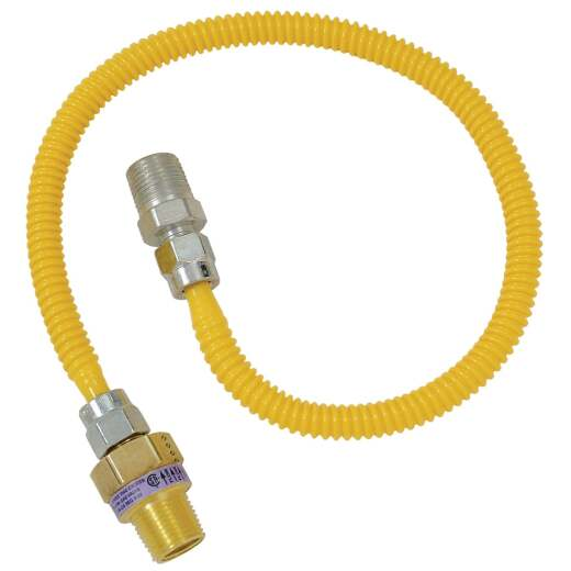 Dormont 3/8 OD x 48 In. Coated Stainless Steel Gas Connector, 1/2 In. MIP (Tapped 3/8 In. FIP) x 1/2 In. MIP SmartSense