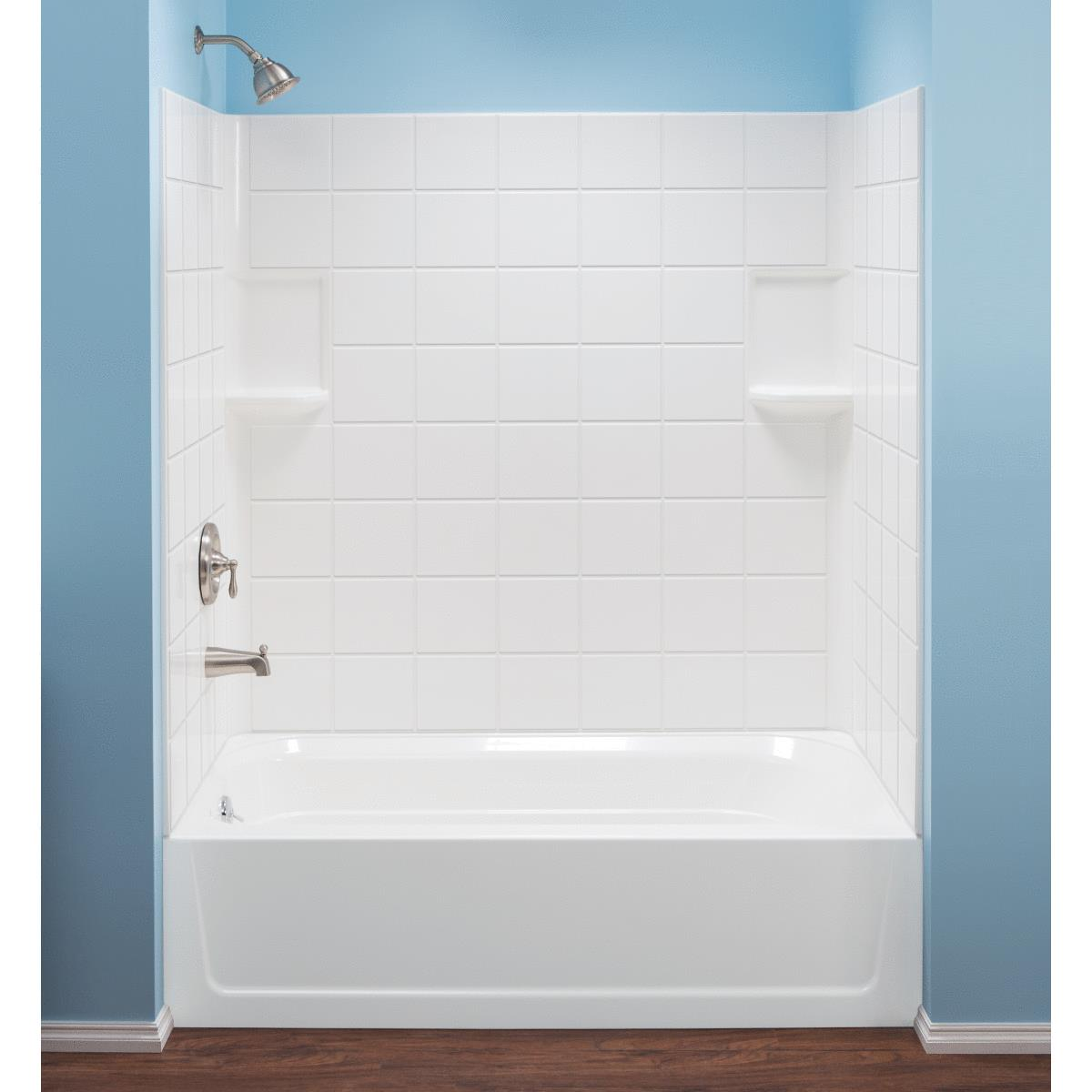 Mustee Topaz 3 Piece 60 In L X 30 In D Bathtub Tub Wall Kit In White Tile Pattern Cash Carry Do It Center