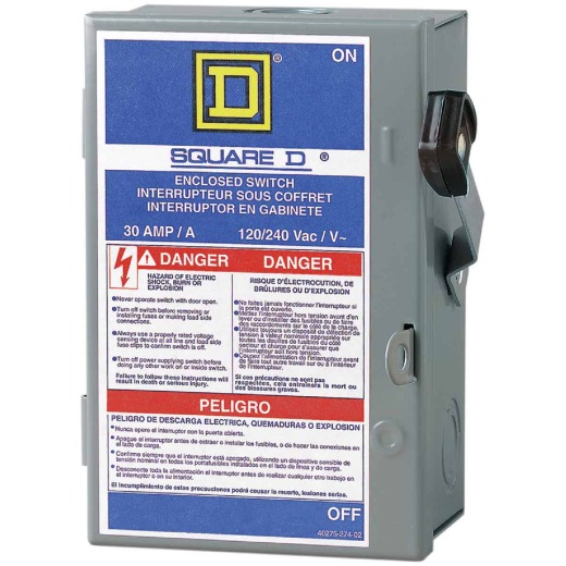 Square D 30A L Series Light-Duty Cartridge Fuse Enclosed Safety Switch With Neutral