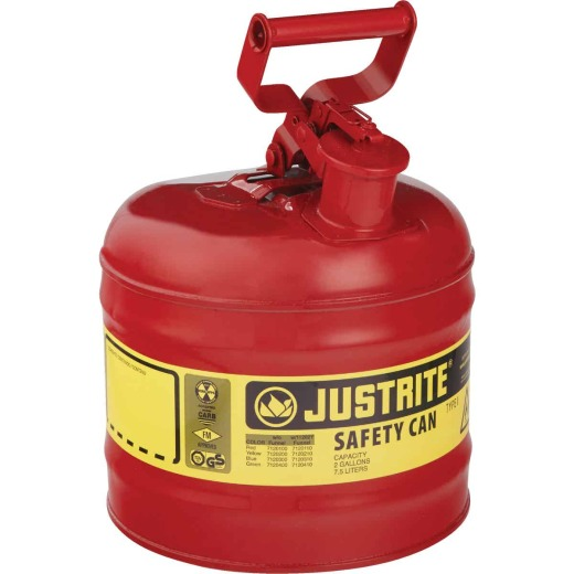 Justrite 2 Gal. Type I Galvanized Steel Safety Fuel Can, Red
