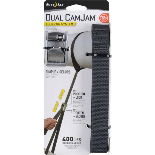 Nite Ize Dual CamJam 1 In. x 12 Ft. 400-Lb. Working Load Limit Tie-Down Strap
