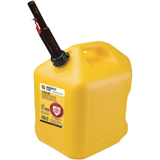 Midwest Can 5 Gal. Plastic Auto Shut Off Diesel Fuel Can, Yellow