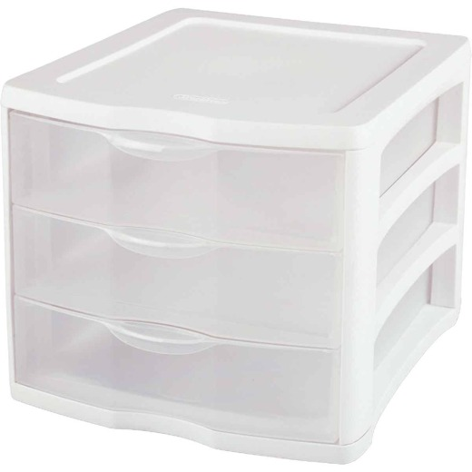 Sterilite ClearView 10 In. x 10 In. x 13.5 In. White 3-Drawer Storage Unit
