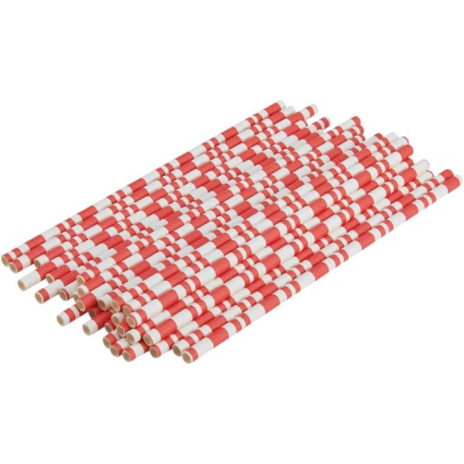 Kizmos Red & White Stripe Paper Straws (30 Count)