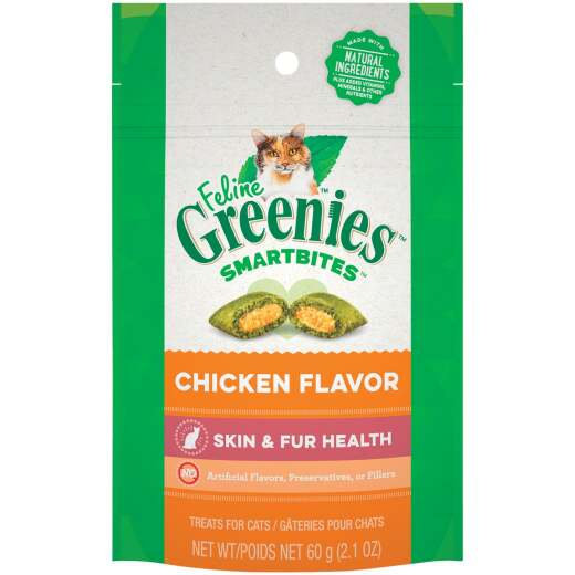 Greenies SmartBites Chicken 2.1 Oz. Skin & Fur Health Cat Treats