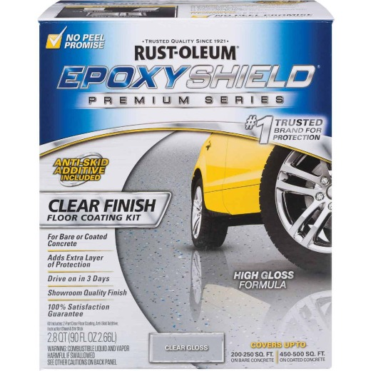 Rust-Oleum EpoxyShield Clear Finish Floor Coating Kit, Clear, 2.8 Qt.