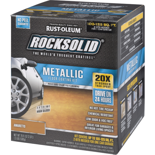 Rust-Oleum RockSolid Metallic Floor Coating Kit, Amaretto, 70 Oz.