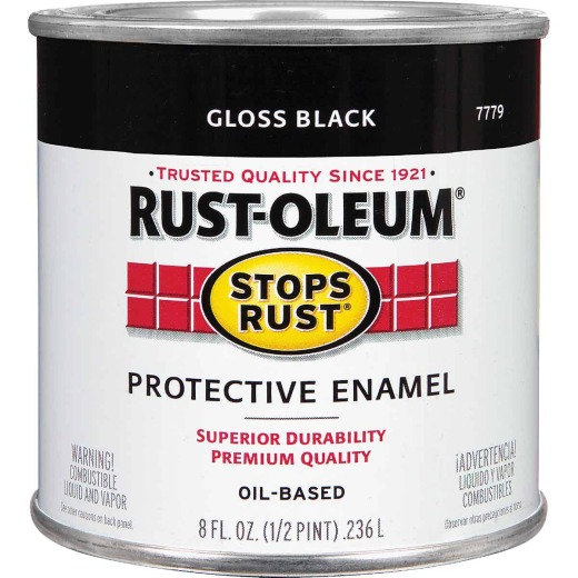 Rust-Oleum Stops Rust Oil Based Gloss Protective Rust Control Enamel, Black, 1/2 Pt.
