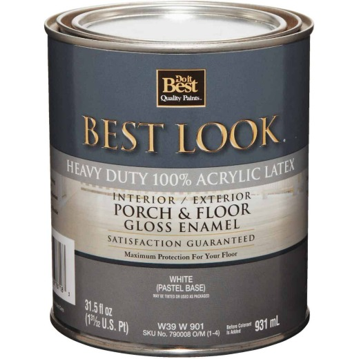 Best Look 1 Qt. White/Pastel Base Heavy-Duty Acrylic Latex Gloss Porch & Floor Enamel