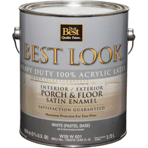 Best Look 1 Gal. White Heavy-Duty Acrylic Latex Satin Porch & Floor Enamel