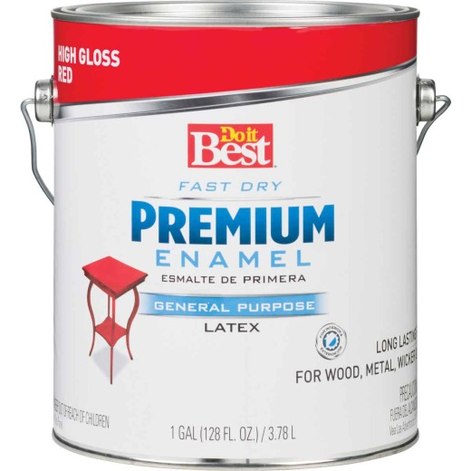 Do it Best Fast Dry Acrylic Latex Gloss Premium Enamel, Red, 1 Gal.
