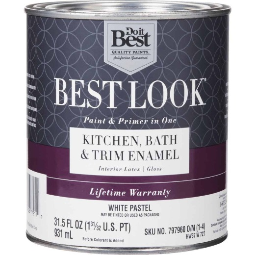 Best Look Latex Paint & Primer In One Kitchen Bath & Trim Enamel Gloss Interior Wall Paint, White-Pastel Base, 1 Qt.