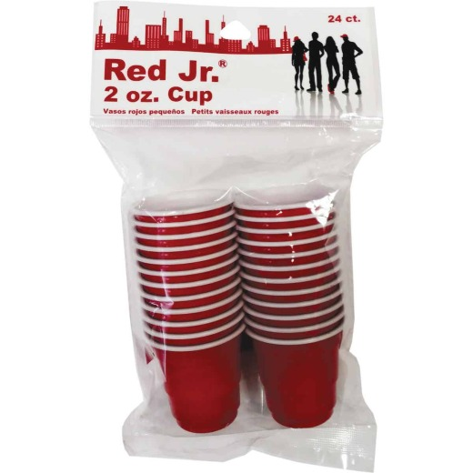 Red Jr. 2 Oz. Red Plastic Cups (24-Pack)